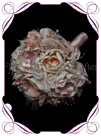 vintage glamour bridesmaid bouquet, this design is made entirely with fabric and handmade flowers. With laces, crystals and pearls throughout, brooch bouquet, bling bouquet, vintage brooch