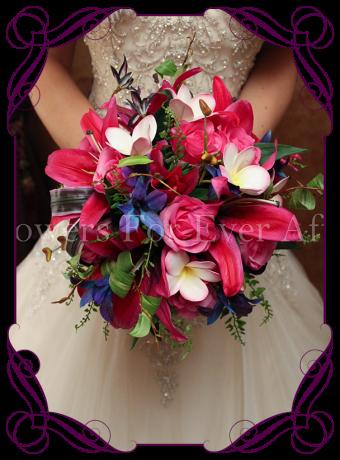 pink purple textured lily silk bridal bouquet