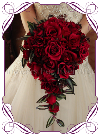 image of traditional silk red rose tear bridal bouquet
