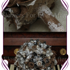 image of button pearl origami burlap bridal bouquet
