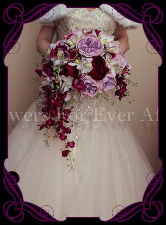 Silk vintage inspired mauve and magenta crescent flower bouquet, artificial orchids david austin roses, romantic unusual bouquet melbourne