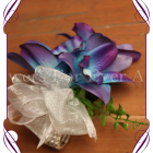 silk galaxy orchid wristlet corsage