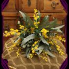 silk wattle australian native bush wedding bouquet, silk wedding flowers melbourne