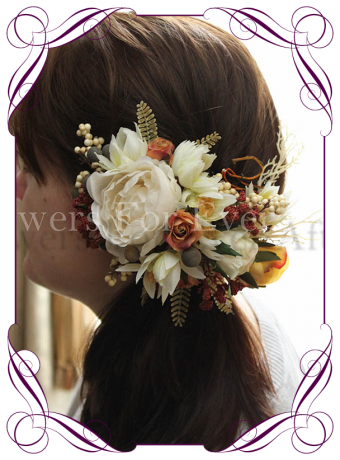 Rustic Autumn Fall hair piece with peonies, burnt orange rose and yellow roses. Artificial flower head piece silk hair flowers
