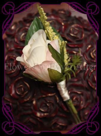 silk rose groomsmen button