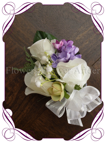 ladies silk artificial wedding corsage in white and lilac