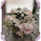 Rustic silk bridal bouquet. Elegant pastel flowers in dainty textures, including artificial pink peonies, lavender, sweet pea and berries. Unique high quality artificial flowers perfect for outdoor weddings and rustic theme weddings.