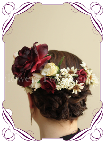 vintage floral crown / floral headpiece ideal for weddings and other special occasions. With cream and deep burgundy silk artificial flowers, this flower headpiece can be worn in many different ways.