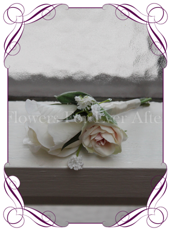 Gents white and pink wedding flower button