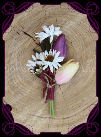silk daisy and tulip rustic boutonniere