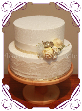 Champagne and bling silk artificial flowers wedding cake decoration