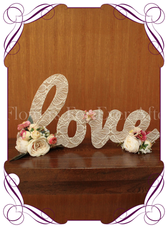 Love word wedding bridal table decoration in lace and silk artificial flowers