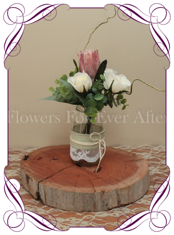 Rustic Australian Bush Native table centerpiece decoration for weddings and events. All in high grade silk flowers.