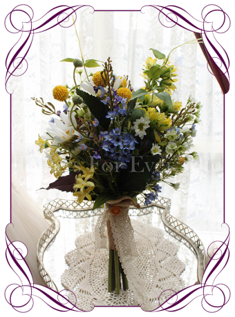 Silk artificial wedding bouquet in a rustic boho style in yellow white and blue.