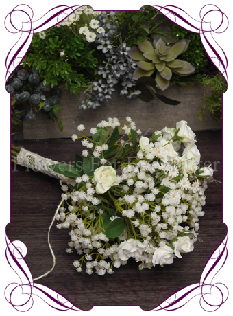 Rustic bridesmaids artificial wedding flower posy of baby's breath (gyp) and roses with lace. A classic elegant wedding bouquet style sure to keep within budget.