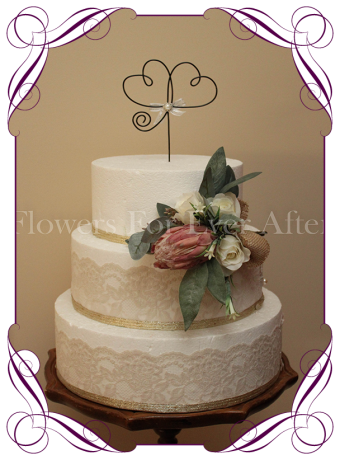 Twin hearts wire wedding cake topper / decoration.