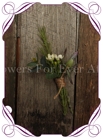 Rustic artificial Australian natives gents button / flower pin