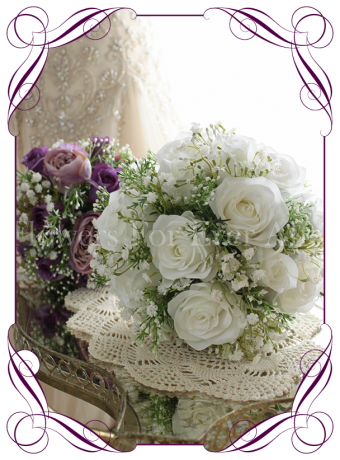 White rose and baby's breath silk artificial wedding bouquet. Small bridal size.