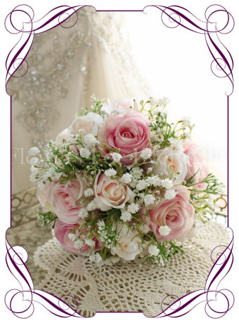 Pink and blush rose and baby's breath silk artificial wedding bouquet. Bridesmaids bouquet