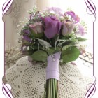 Purple and Lavender rose and baby's breath silk artificial wedding bouquet. Bridesmaids bouquet