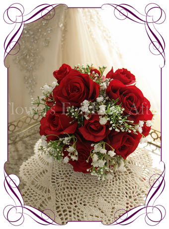 Red rose and baby's breath silk artificial wedding bouquet. Bridesmaids bouquet