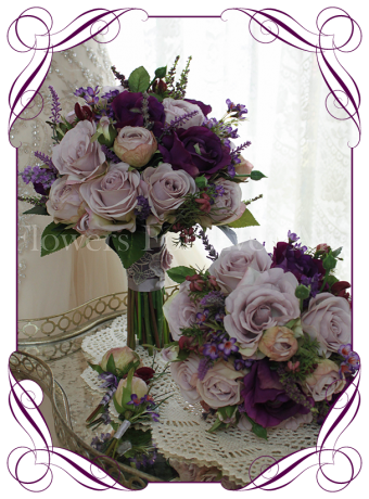 Rustic style Purple/Mauve silk/artificial wedding flower bouquet package. Matching Buttonholes Included. Unique & Made in Melbourne! Worldwide Shipping!