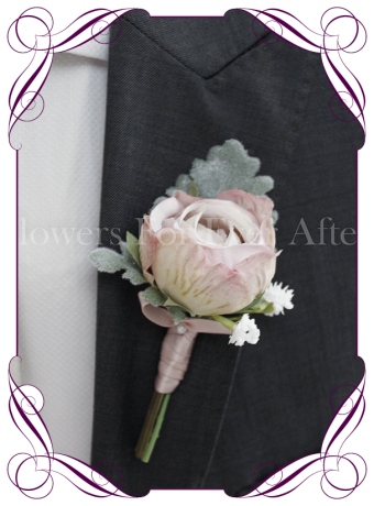 Gents silk artificial wedding flower / button