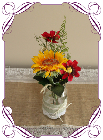 Red and yellow silk flower artificial wedding table decoration. Perfect for jars and small vases in a rustic theme.