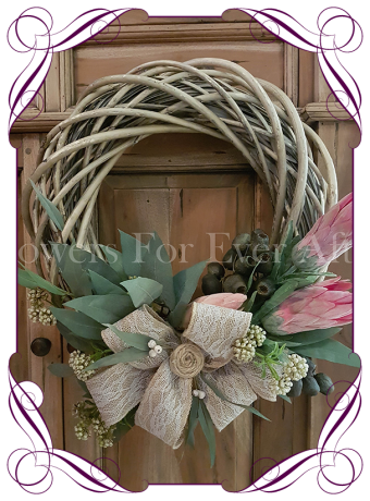 Artificial Protea and Australian Native Rustic Wreath, Perfect for an Australian Christmas or Rustic Wedding Bridal Floral Decor