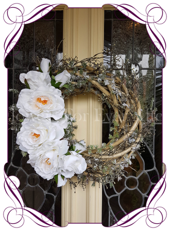 Silk White Rose wreath with artificial pine branch & fake dry spray berry all round. A beautiful Wreath made from bridal grade artificial flowers perfect for a Winter wedding or Christmas. Custom Orders & International Shipping Available. Made in Melbourne.
