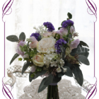 A garden rustic silk flower bridesamaids posy bouquet in purple, ivory, lilac, and blush pink. Made in Melbourne. Shipping world wide