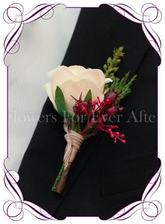 Gents / mens wedding flower button / boutonniere in soft apricot and raspberry.