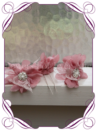 Pink fabric flower lace pearl and bling hair pins. Made in Melbourne. Shipping world wide