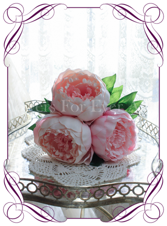 pink peony artificial silk wedding bouquet flowers. A simple posy style that can be held by bridesmaids or used as a table decoration for an engagement, birthday, kitchen tea or wedding event.