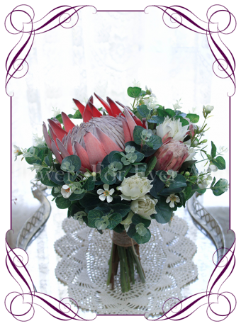 Australian native silk artificial protea and gum bridal bouquet design. Made in Melbourne. Shipping worldwide