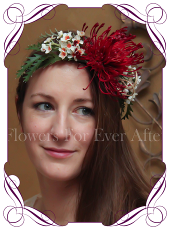 Australian native silk flower floral crown. Artificial fake flower halo. Native boho rustic wedding.
