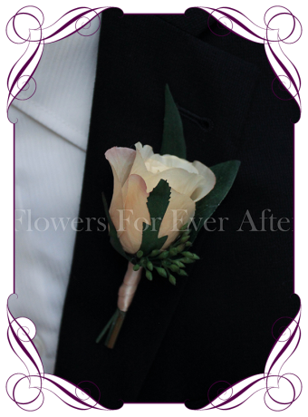 rustic champagne cream silk wedding flower gent / groomsmens button boutonniere. Rose and native gum foliage