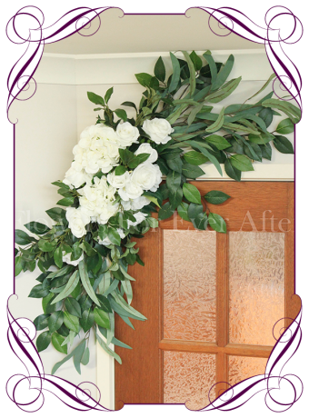 White silk artificial rose and hydrangea wedding arbor / arch corner decoration. Made in Melbourne. World wide shipping