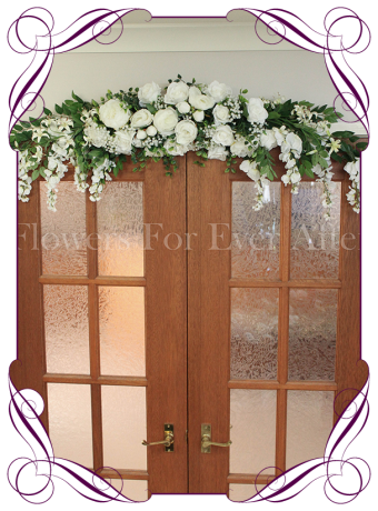 White silk artificial roses, peonies and baby's breath wedding arbor / arch corner decoration. Made in Melbourne. World wide shipping