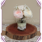 Blush pink and pastel peony and baby's breath-rustic-style-silk-artificial-table-centrepiece-posy-for-wedding-table-decoration-mason-jar